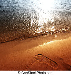 footprint on beach
