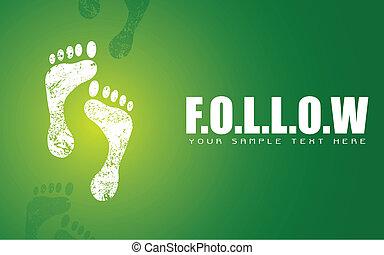illustration of pair of footprint on motivational follow background