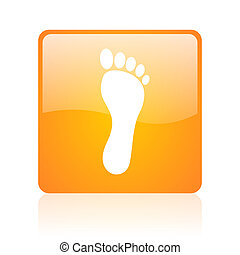 footprint orange square glossy web icon