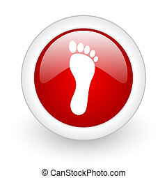 footprint red circle glossy web icon on white background