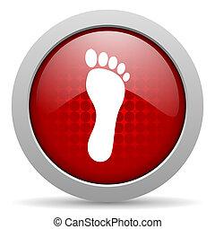 footprint red circle web glossy icon
