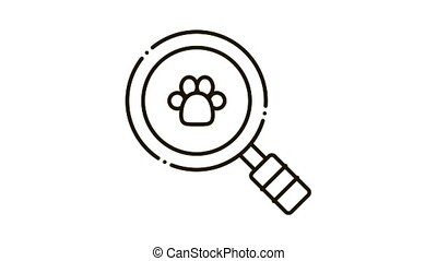 Footprint Search Icon Animation. black Footprint Search animated icon on white background