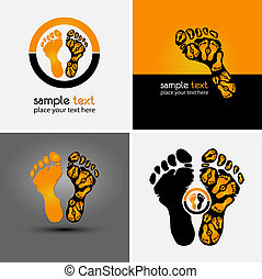 footprint symbol and background for sport company