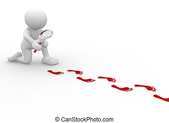 Footprints - 3d people - human character with magnifier and ...