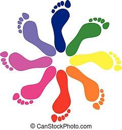 Footprints - footprints, pattern, background, color, people...