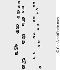 footprints  - Black footprints of man and dog, vector