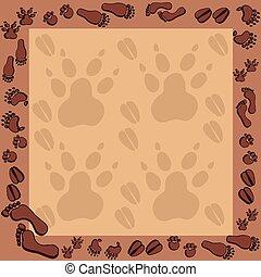 Footprints in brown frame 2