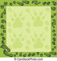 Footprints in green frame 2