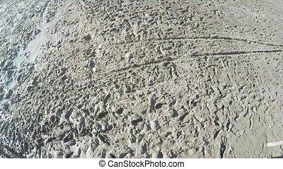 Footprints in mud of river - On wet river mud the footprints...
