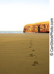 footprints in sand on empty beach on a beautiful winters day