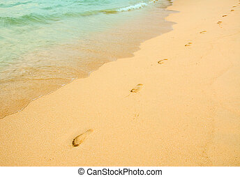footprints in the beach