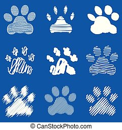 Footprints of dog paws