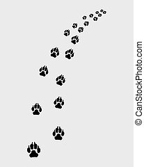 Footprints of dog, turn right-vector illustration