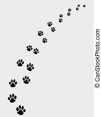 Black footprints of dogs, turn right -vector illustration
