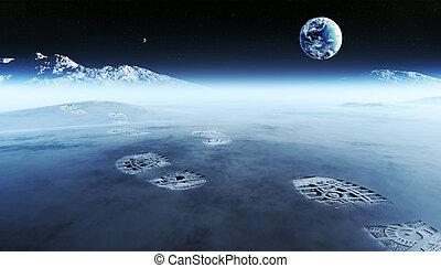 Footprints on alien planet - Conceptual artwork of mankind ...
