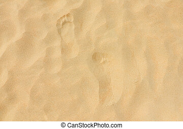 footprints on the beach dune sand as a background