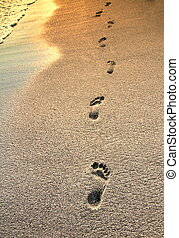 Footprints on the beach sand  close up image