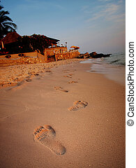 Footprints on the beach.