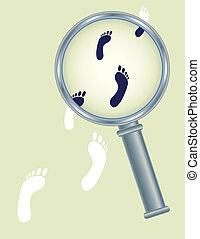 footprints under magnifier glass - abstract human footprints...