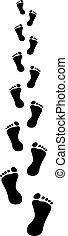 footprints receding - clip art illustration