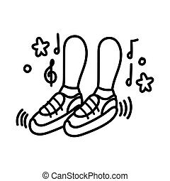 foots dancing with music notes line style