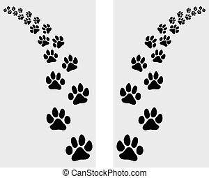 footstep of cat - Trail left and right of footstep of cat,...