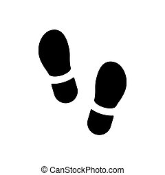 Footsteps icon or footprint silhouette isolated on white. Vector illustration