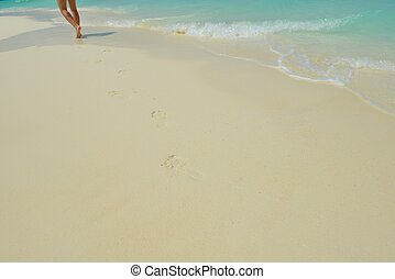 footsteps on beach