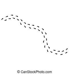 footsteps print route vector illustration design template