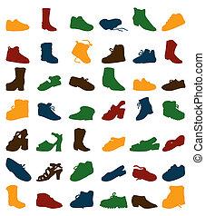 footwear., 黑色半面畫像, 矢量, 插圖, 彙整