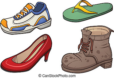 Footwear clip art. Vector cartoon illustration with simple ...