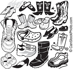 Clip art collection of various styles of footwear
