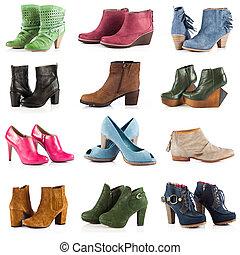 footwear., encima, blanco, hembra, shoes