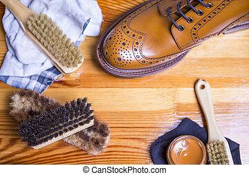 Footwear Ideas and Concepts. Close-up of Premium Tan Brogue...