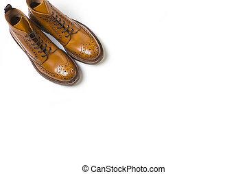 Footwear Ideas. Pair Of Separate Luxury Tan Brogue Boots On...