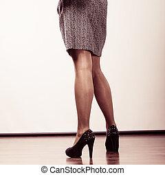 Amazing legs with high heels.
