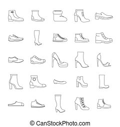 Footwear shoes icon set, outline style