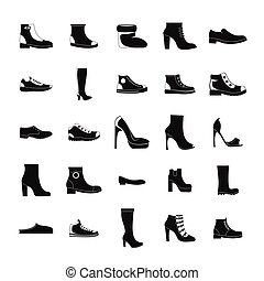 Footwear shoes icon set, simple style
