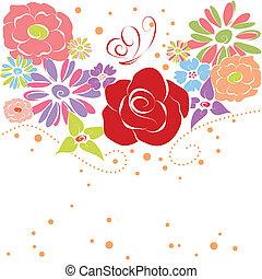 forår, abstrakt, blomster, farverig, sommer