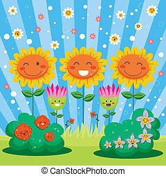 forår blomstr, have, glade
