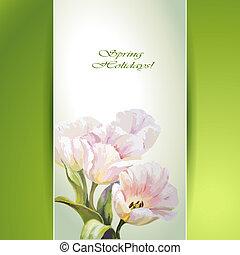 forår blomstrer, invitation, skabelon