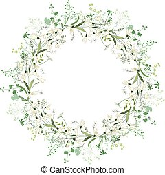 forår, ramme, omkring, snowdrops, hvid blomstrer, kontur