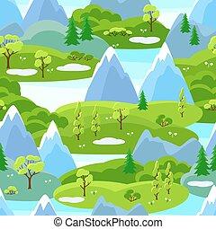 forår, seamless, mønster, hos, træer, bjerge, og, hills., sæsonprægede, landskab, illustration