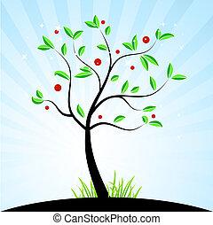 forår, træ, by, din, konstruktion