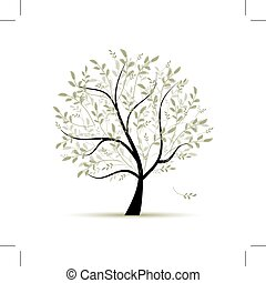 forår, træ, grønne, by, din, konstruktion