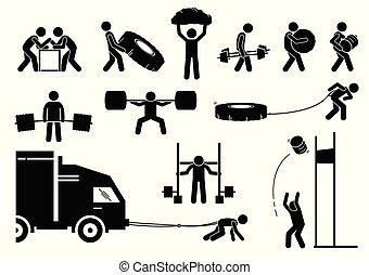 força, atletismo, strongman, competição, icons.