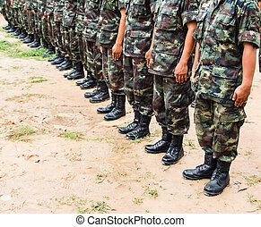 força, botina, uniforme, soldado, militar, fila