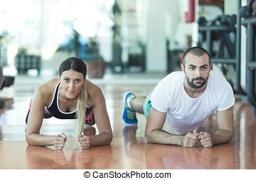 força, ginásio,  push-up, mulher,  pushup, condicão física,  Dumbbell, malhação, homem