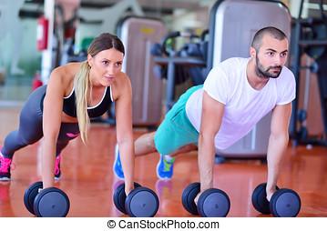 força, ginásio,  push-up, mulher,  pushup,  Dumbbell, malhação, homem