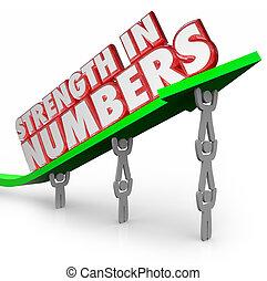 força, meta, trabalhando, seta, junto, números, palavras, equipe, 3d